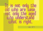 Job 32:9 - It is not only the old who are wise, not only the aged who understand what is right.