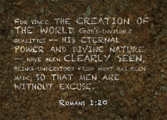 Romans 1:20 - For since the creation of the world God's invisible qualities--his eternal power and divine nature--have been clearly seen, being understood from what has been made, so that men are without excuse.