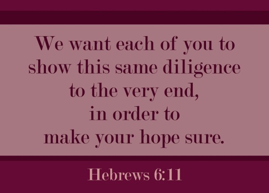 Hebrews 6:11 - We want each of you to show this same diligence to the very end, in order to make your hope sure.
