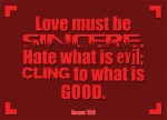 Romans 12:9 - Love must be sincere. Hate what is evil; cling to what is good.