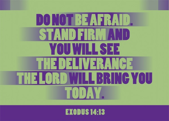 "Exodus 14:13 - Moses answered the people, ""Do not be afraid. Stand firm and you will see the deliverance the Lord will bring you today. The Egyptians you see today you will never see again."
