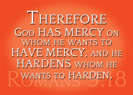 Romans 9:18 - Therefore God has mercy on whom he wants to have mercy, and he hardens whom he wants to harden.