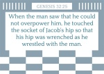 Genesis 32:25 - And when he saw that he prevailed not against him, he touched the hollow of his thigh; and the hollow of Jacob's thigh was out of joint, as he wrestled with him.