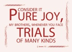 James 1:2 - Consider it pure joy, my brothers and sisters, whenever you face trials of many kinds