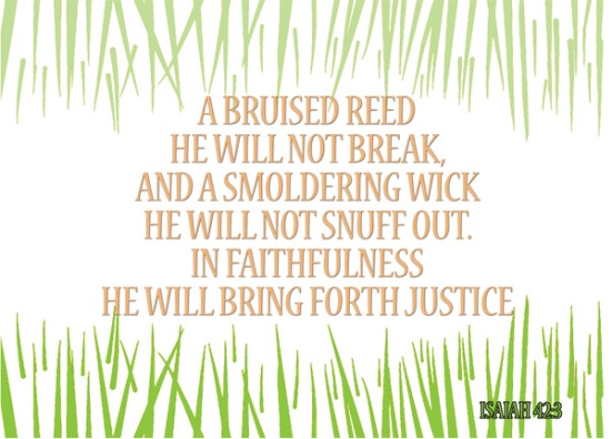 Isaiah 42:3 - A bruised reed he will not break, and a smoldering wick he will not snuff out. In faithfulness he will bring forth justice;
