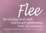 2 Timothy 2:22 - Flee the evil desires of youth and pursue righteousness, faith, love and peace, along with those who call on the Lord out of a pure heart.