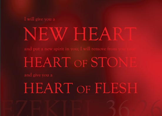 Ezekiel 36:26 - I will give you a new heart and put a new spirit in you; I will remove from you your heart of stone and give you a heart of flesh.