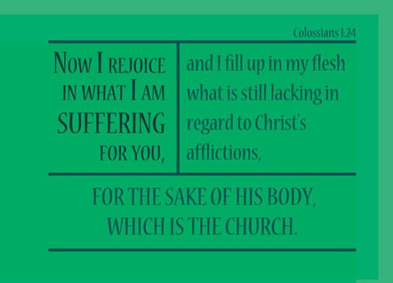 Colossians 1:24 - Now I rejoice in what I am suffering for you, and I fill up in my flesh what is still lacking in regard to Christ's afflictions, for the sake of his body, which is the church.